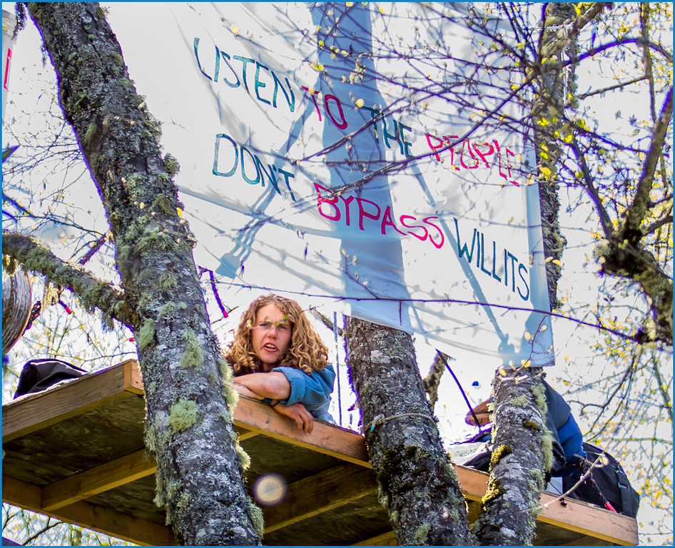 Description of . The seventh tree sitter nicknamed Crow, sports a banner. Photo by Steve Eberhard.