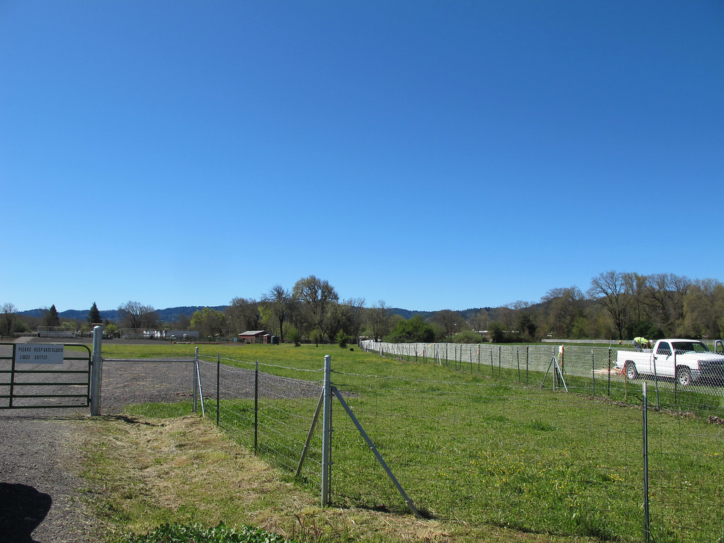 Description of . New environmentally sensitive area fencing has been installed marking the bypass route next to the Willits Horseman's arena by Hearst Willits Road.