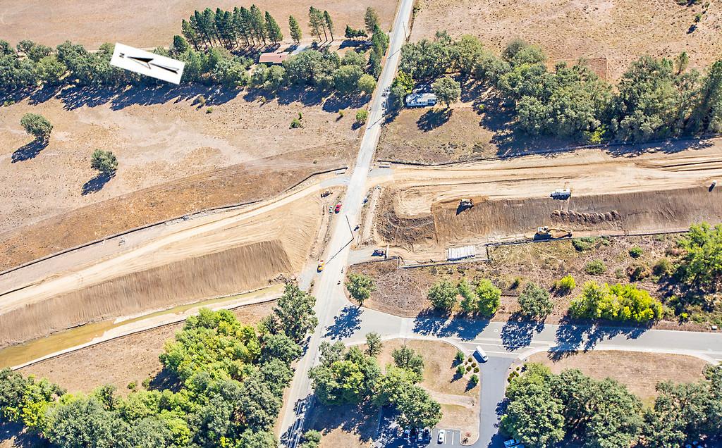Description of . East Hill Road crossing. Willits bypass construction overflight Sept. 5; Pilot Mike Smith; photographer Steve Eberhard/TWN