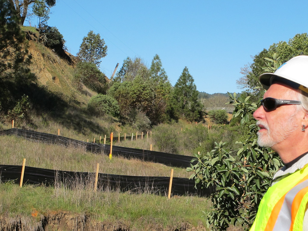Description of . TWN Photographer overlooks the eroded creek. The silt reducing fabric along the hillside with the bypass fence visible in the far distance.