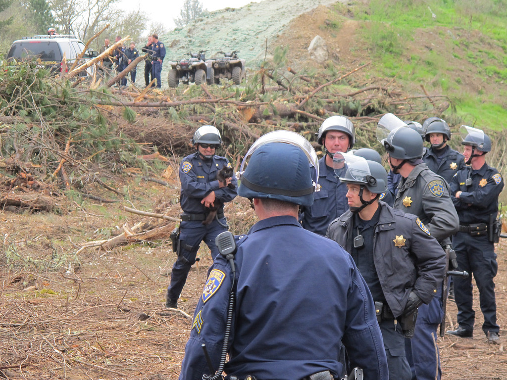 Description of . A CHP officer holds the small black cat retrieved by the SWAT crew from one of the tree sits and is bringing it back to the cat's protester owner. By The Willits News Publisher Debbie Clark