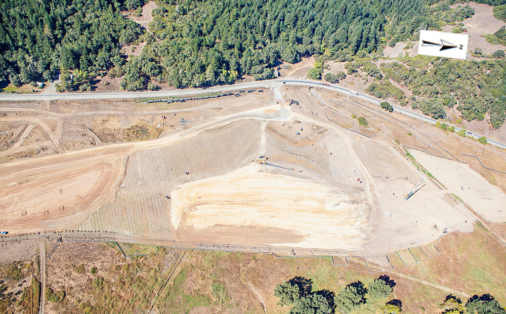 Description of . Future site of the northern interchange and roundabout; Willits bypass construction overflight Sept. 5; Pilot Mike Smith; photographer Steve Eberhard/TWN