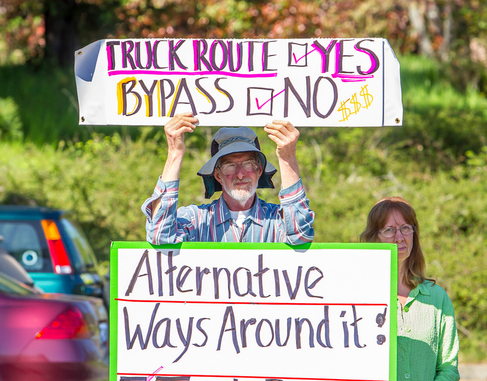 Description of . Photo by Steve Eberhard TWN 3 Willits bypass protesters April 23, 2013 in front of the Willits CalTrans bypass project office at corner of Baechtel and E. Hill roads.