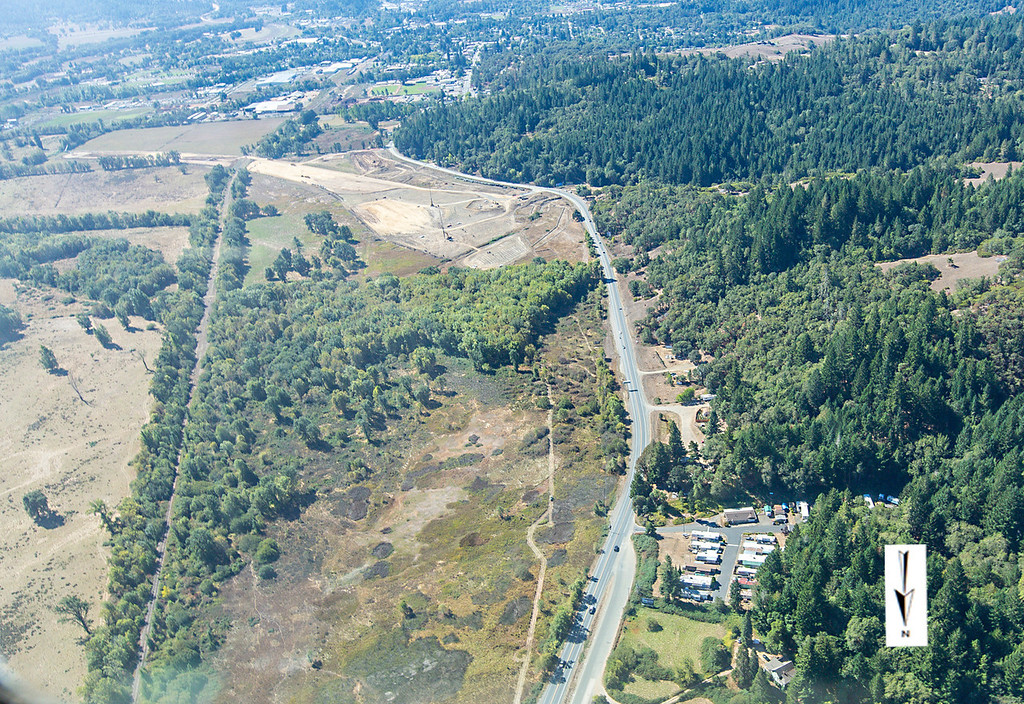 Description of . Extreme northern end of Willits bypass construction as seen during an overflight Sept. 5; Pilot Mike Smith; photographer Steve Eberhard/TWN
