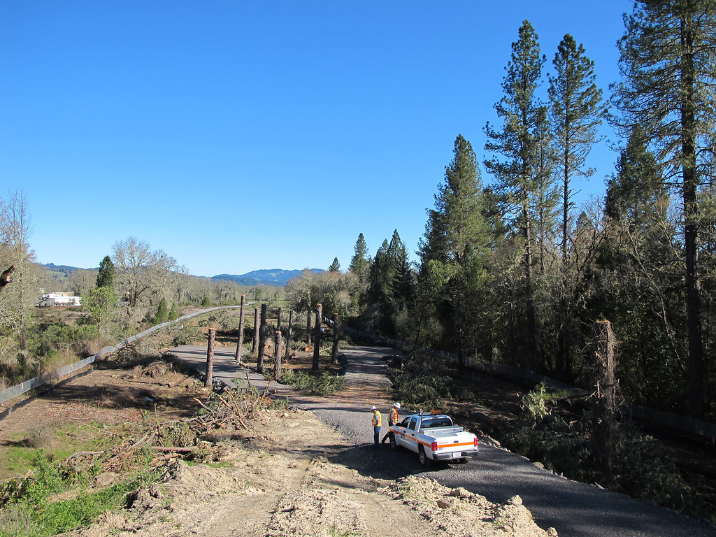 Description of . View from the top of the mound looking toward East Hill Road. The gravel roadway is the area used by CHP to remove tree sitters 2 and 3 from the pine trees on April 2.