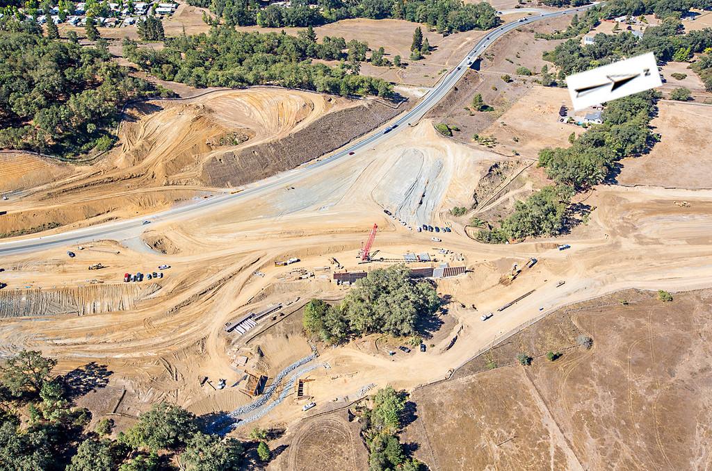 Description of . The southern interchange. Willits bypass construction overflight Sept. 5; Pilot Mike Smith; photographer Steve Eberhard/TWN