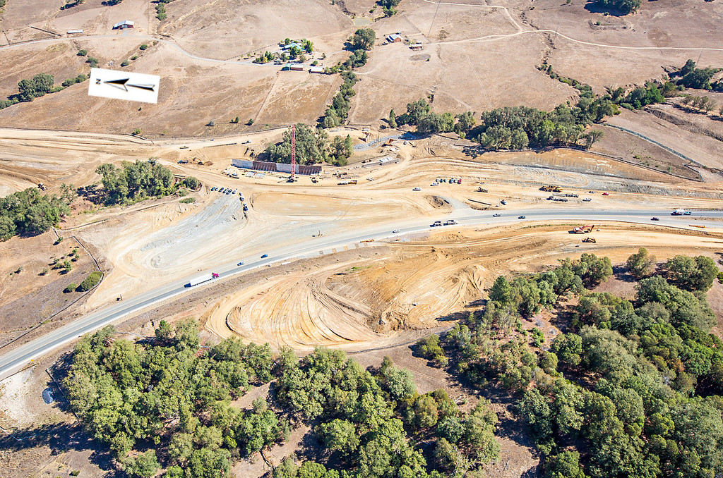 Description of . Another view of the southern interchange. Willits bypass construction overflight Sept. 5; Pilot Mike Smith; photographer Steve Eberhard/TWN