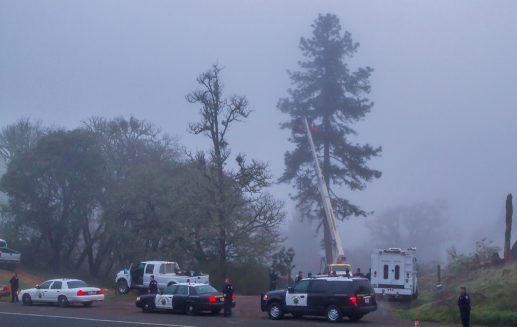 . SWAT team rides up to access Warbler\'s tree sit platform. While this was going another team was using another man lift to access the platform from out of view due to the darkness and fog. Photo by Steve Eberhard