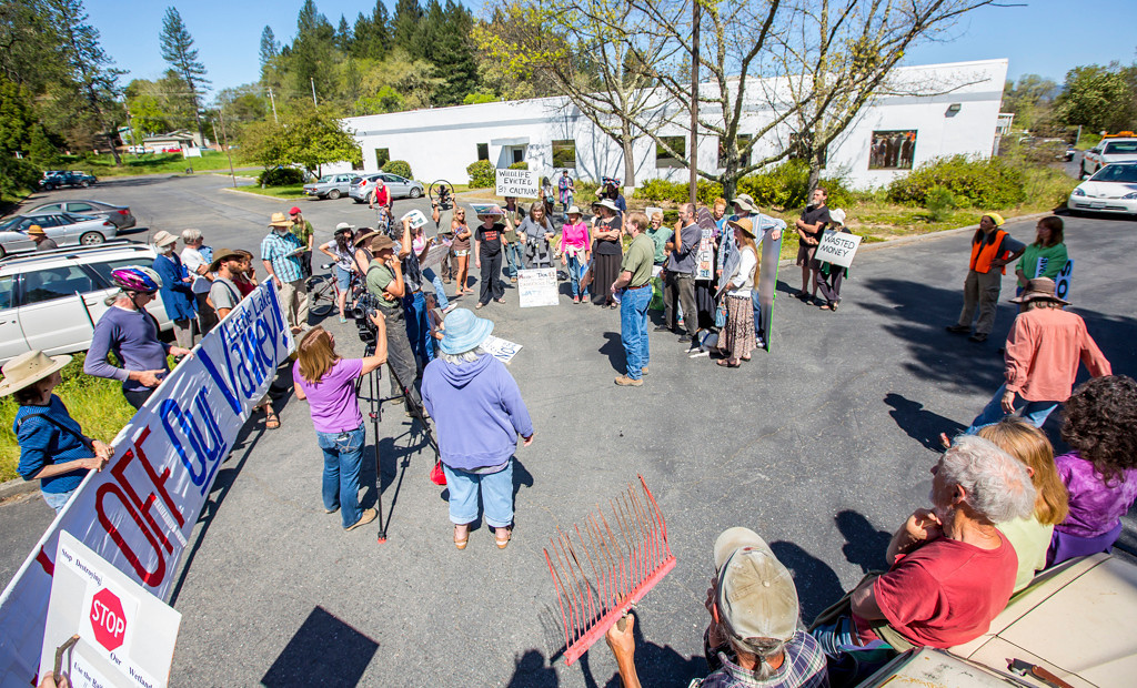 . Photo by Steve Eberhard TWN 13 Willits bypass protesters April 23, 2013 in front of the Willits CalTrans bypass project office at corner of Baechtel and E. Hill roads.