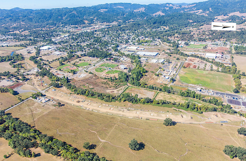 . Bypass route from Valley Street to Shell Lane area. Willits bypass construction overflight Sept. 5; Pilot Mike Smith; photographer Steve Eberhard/TWN