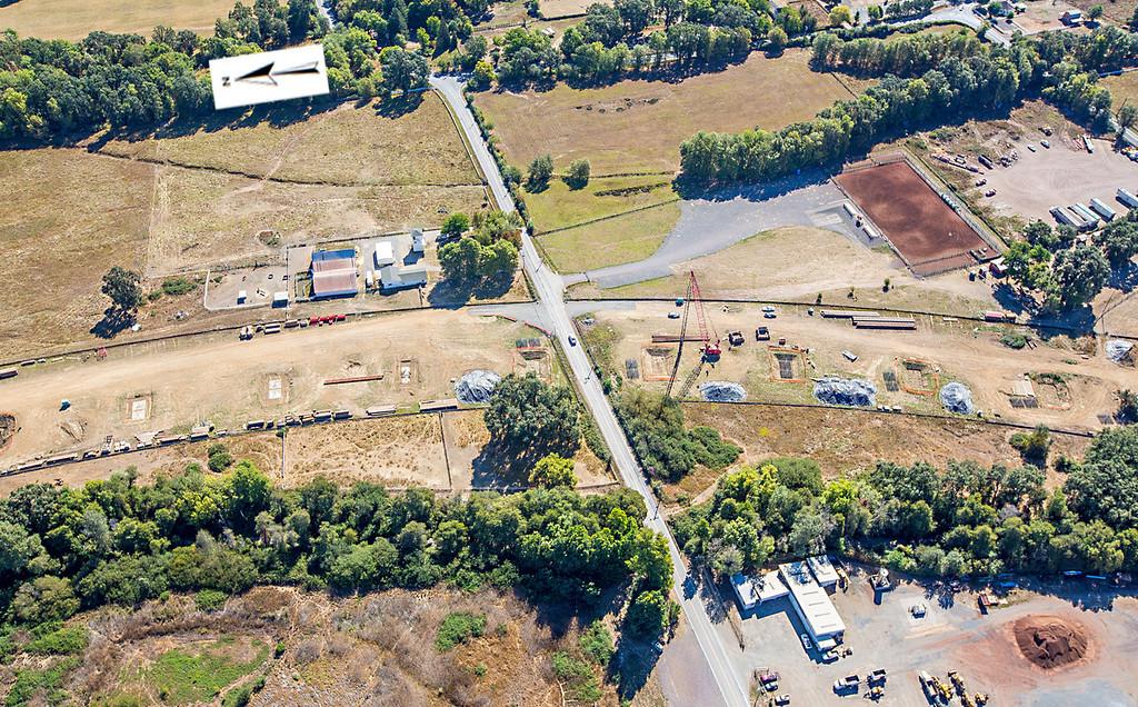 . The bypass crossing Hearst Willits Road. Willits bypass construction overflight Sept. 5; Pilot Mike Smith; photographer Steve Eberhard/TWN